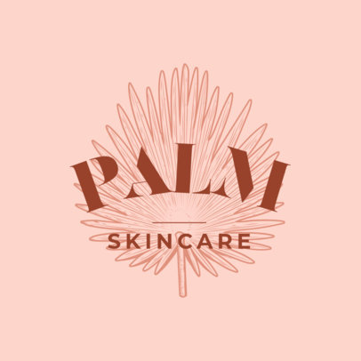 Skincare Brand Logo Generator Featuring an Engraved Palm Leaf 3931n