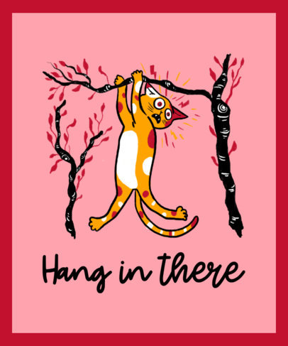 T-Shirt Design Creator with a Kitty Hanging From a Branch 3245h