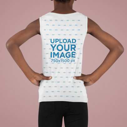 Tank Top Mockup of the Back of a Kid in a Studio m880