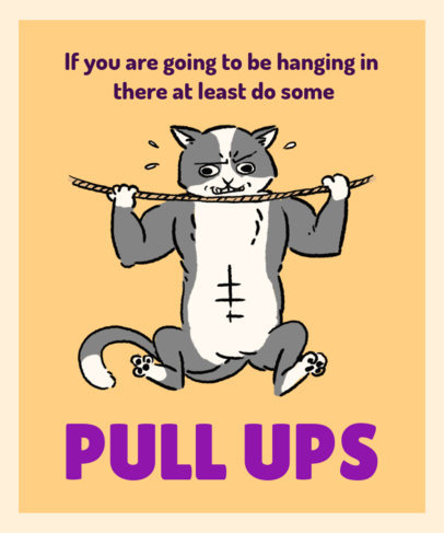 Hang in There T-Shirt Design Template with an Illustration of a Muscled Cat 3245e