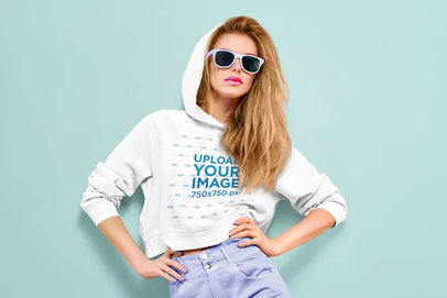 Crop Top Hoodie Mockup Featuring a Serious Woman with Sunglasses 44681-r-el2
