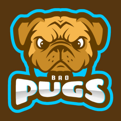 Mascot Logo Template for a Sports Team With an Angry Pug Clipart 1649q 2964