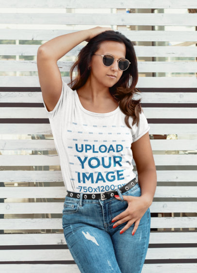 Heathered T-Shirt Mockup of a Serious Woman With Sunglasses 45350-r-el2