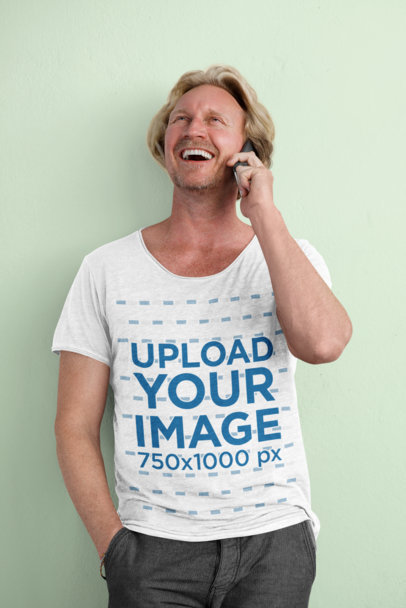 Heathered Tee Mockup Featuring a Happy Middle-Aged Man Talking on the Phone 45187-r-el2
