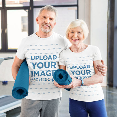 T-Shirt Mockup Featuring a Senior Couple at the Gym 45807-r-el2