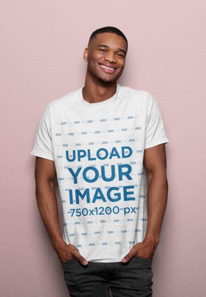 T-Shirt Mockup of a Man Smiling in a Studio 45211-r-el2