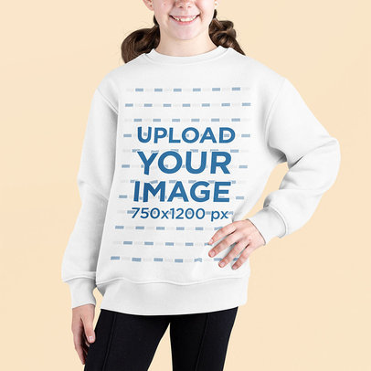Sweatshirt Mockup Featuring a Smiling Girl Posing in a Studio m694