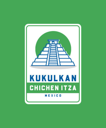 Travel T-Shirt Design Maker Featuring a Chichen Itza Pyramid Icon 3331c-el1