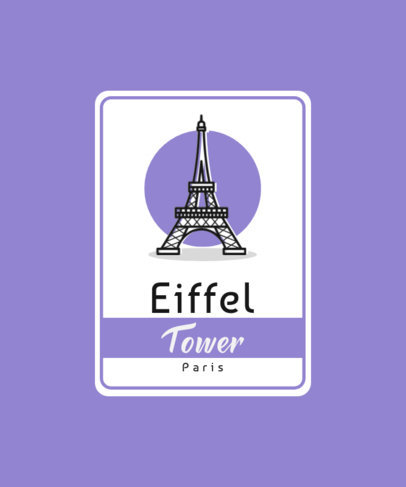 Travel-Themed T-Shirt Design Template with an Icon of the Eiffel Tower 3331f-el1