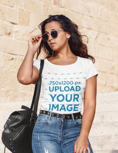 Mockup of a Female Tourist With Sunglasses Wearing a Heathered T-Shirt 45351-r-el2