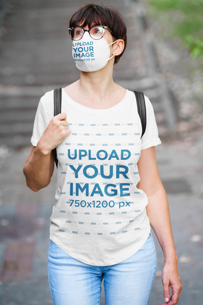 T-Shirt Mockup Featuring a Woman Wearing a Face Mask 45356-r-el2