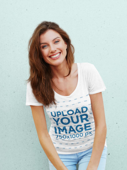 T-Shirt Mockup Featuring a Smiling Woman Against a Plain Background 45220-r-el2