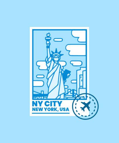 T-Shirt Design Maker Featuring Postal Stamps of Major City Landmarks 3325-el1