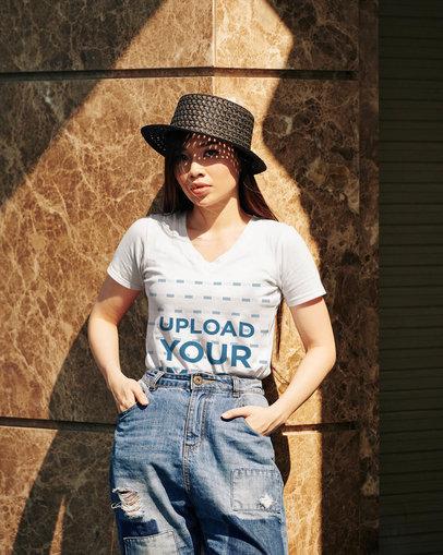 V-Neck T-Shirt Mockup of a Fashionable Woman Posing 45137-r-el2
