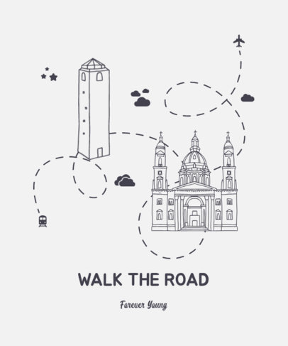 T-Shirt Design Creator with a Travelling Road Around the World 3333b-el1