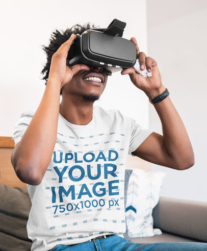 T-Shirt Mockup Featuring a Happy Man With a VR Headset 45779-r-el2