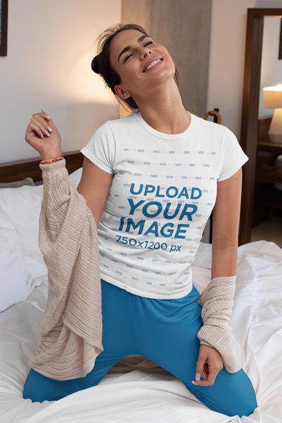 T-Shirt Mockup of a Joyful Woman in Her Bedroom m789