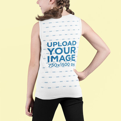 Back View Mockup Featuring a Girl with Braids Wearing a Tank Top m706