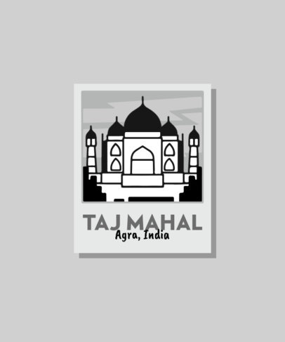 T-Shirt Design Creator with an Instant Picture Frame Featuring a Taj Mahal Illustration 3329b-el1
