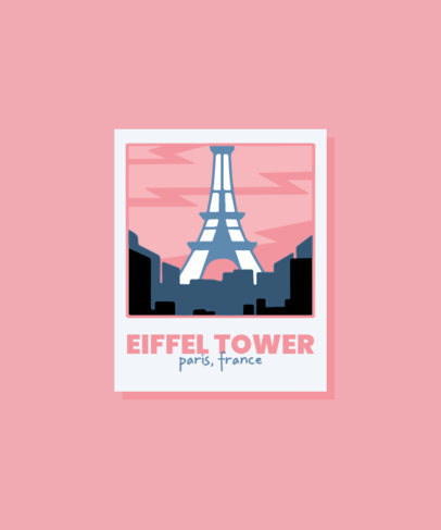Illustrated T-Shirt Design Maker Featuring the Eiffel Tower 3329d-el1