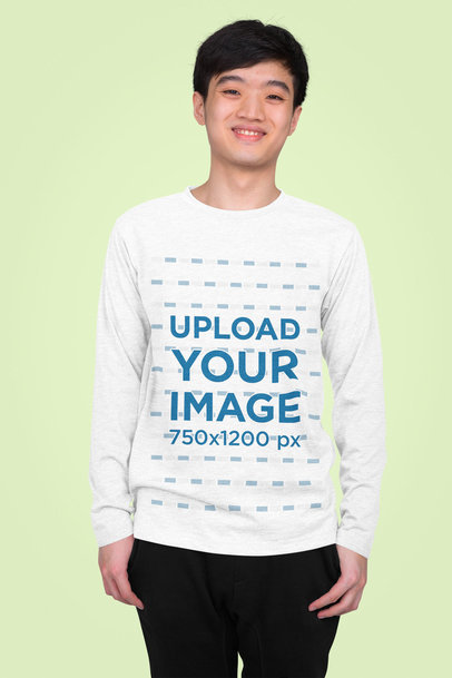 Heather Long Sleeve Tee Mockup of a Happy Teenager Standing in a Studio 45914-r-el2
