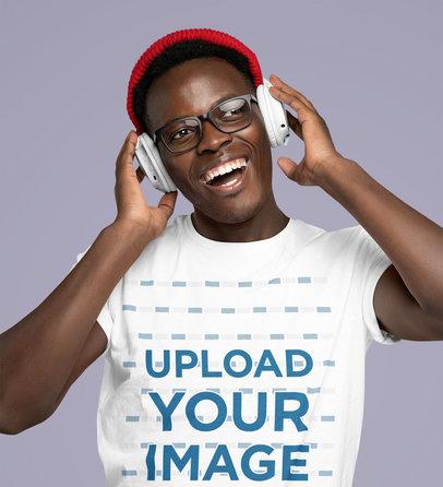 Mockup of a Joyful Man Wearing a Basic T-Shirt and Listening to Music 45603-r-el2