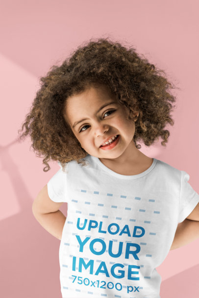 T-Shirt Mockup Featuring a Curly-Haired Girl Smiling 45762-r-el2