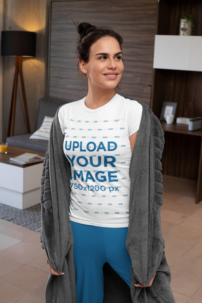 T-Shirt Mockup Featuring a Woman with Cozy Garments m793