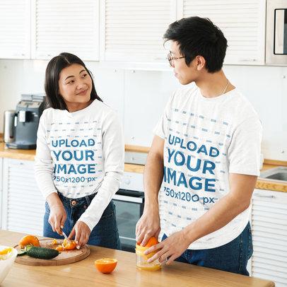 Tee Mockup of a Young Couple Preparing Natural Orange Juice 42488-r-el2