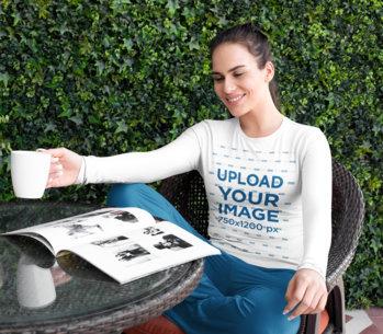 Long-Sleeve Tee Mockup of a Woman in PJs Reading m795