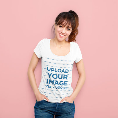 T-Shirt Mockup of a Happy Woman with a Brunette Ponytail 38606-r-el2