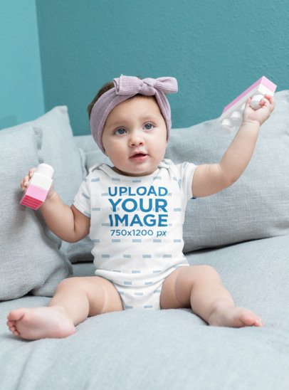 Onesie Mockup Featuring a Baby Girl with Toy Blocks M923