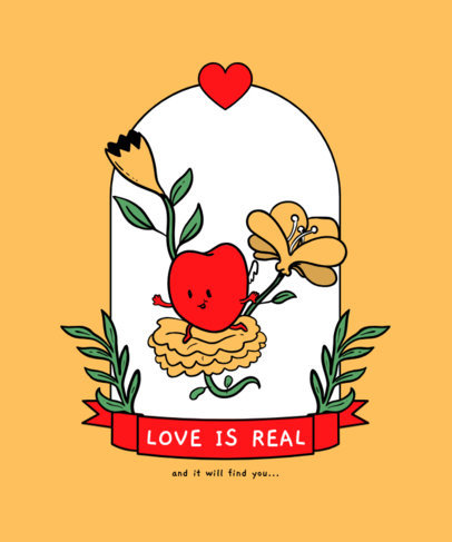 T-Shirt Design Maker for Valentine's Day with Cartoonish Heart Graphics and Flowers 3356-el1