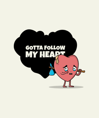 Illustrated T-Shirt Design Creator for Valentine's Day with a Sad Heart 3370b-el1