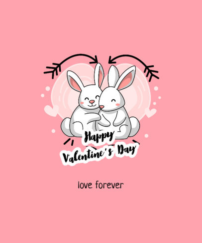 T-Shirt Design Creator for Valentine's Day Featuring a Couple of Bunnies Hugging 3358e-el1