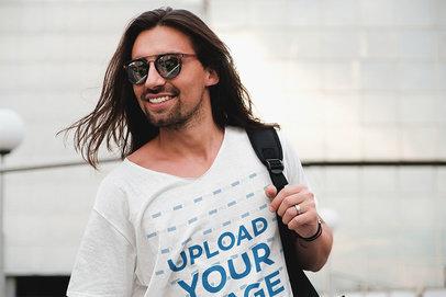 V-Neck T-Shirt Mockup of a Happy Man With Sunglasses 43157-r-el2