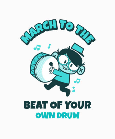 Retro T-Shirt Design Template Featuring a Kid with a Drum 3287d