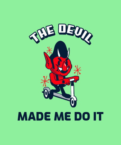 Quote T-Shirt Design Maker Featuring a Devil Riding a Scooter 3287a
