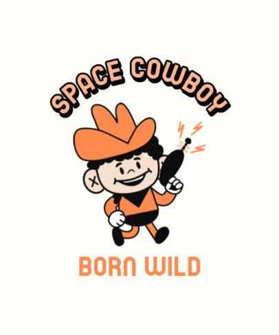Retro T-Shirt Design Maker Featuring a Cowboy with a Space Gun 3287h