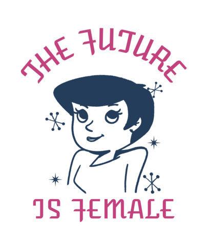 Feminist T-Shirt Design Template Featuring a Vintage Cartoon 3288b
