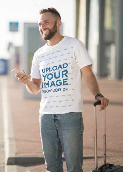 Tee Mockup of a Man with a Suitcase 46246-r-el2
