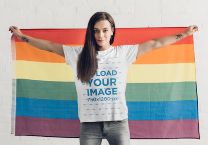 T-Shirt Mockup of a Woman Holding an LGBT Flag 46163-r-el2