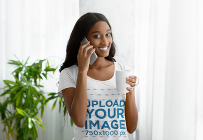 Scoop Neck T-Shirt Mockup of a Woman Talking on the Phone 46135-r-el2