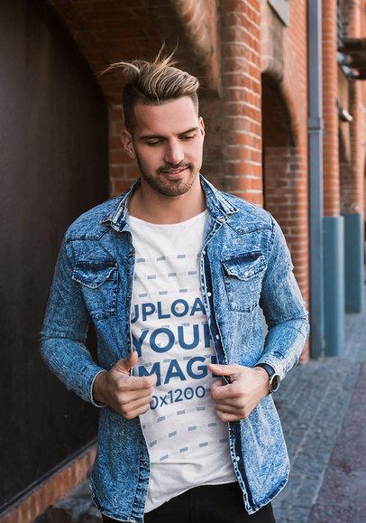 T-Shirt Mockup of a Stylish Man Walking Down the Street 43723-r-el2