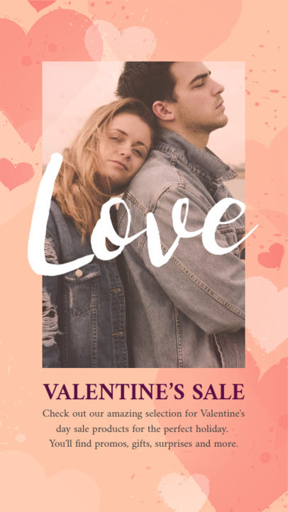 Valentine's Day-Themed Instagram Story Template for a Special Sale Announcement 3298