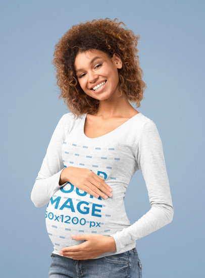 Heathered Long Sleeve Tee Mockup Featuring a Pregnant Woman Posing at a Studio 46501-r-el2