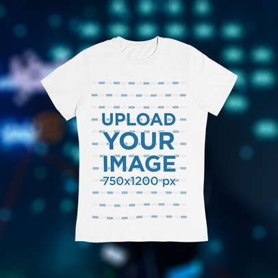 T-Shirt Mockup Featuring a Gaming-Themed Background m1013
