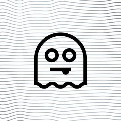 Monochromatic Patreon Profile Picture Design Template Featuring a Ghost Icon 3400a-el1