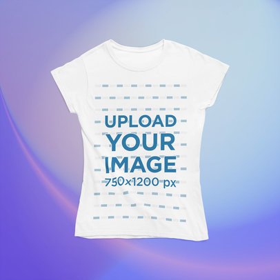 Mockup of a Women's T-Shirt Against a Colorful Customizable Background m1014