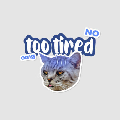 Twitch Emote Logo Template Featuring a Tired Cat Clipart 3982g